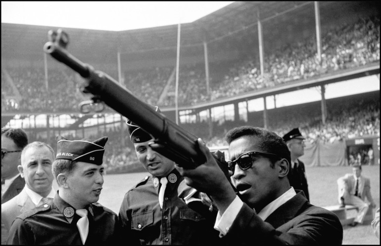 USA. Brooklyn, NY. 1959. Sammy Davis Jr. during the opening of the USA-Israel Football International at Ebbets Field.